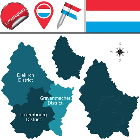 districts: map of Luxembourg with named districts and travel icons Illustration