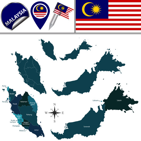 named: map of Malaysia with named governorates and travel icons Illustration