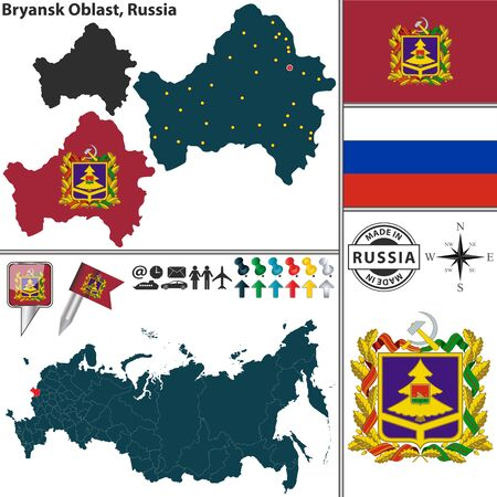 oblast: map of Bryansk Oblast with coat of arms and location on Russian map