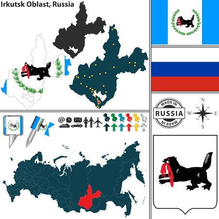 oblast: map of Irkutsk Oblast with coat of arms and location on Russian map Illustration