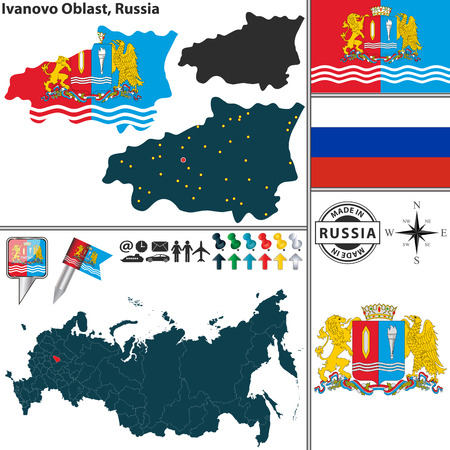 oblast: map of Ivanovo Oblast with coat of arms and location on Russian map Illustration