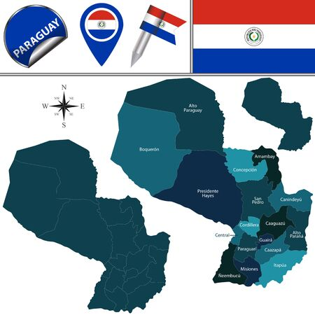 named: map of Paraguay with named departments and travel icons