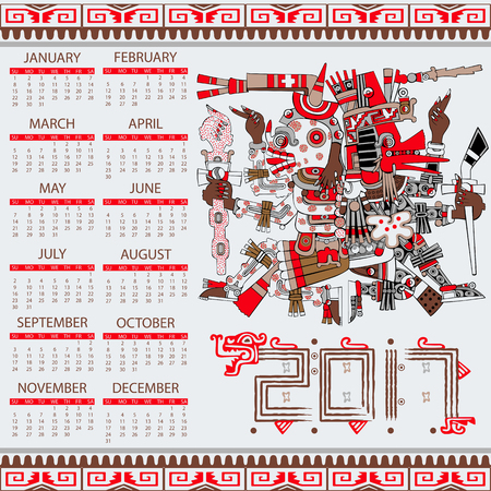 mesoamerican: Vector calendar 2017 in aztec style with ansient gods