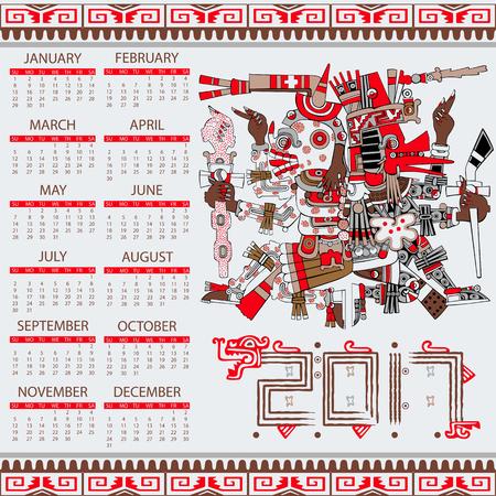 quetzalcoatl: Vector calendar 2017 in aztec style with ansient gods