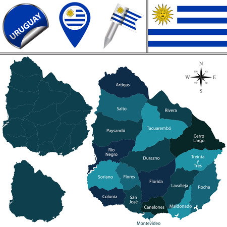Vector map of Uruguay with named departments and travel icons