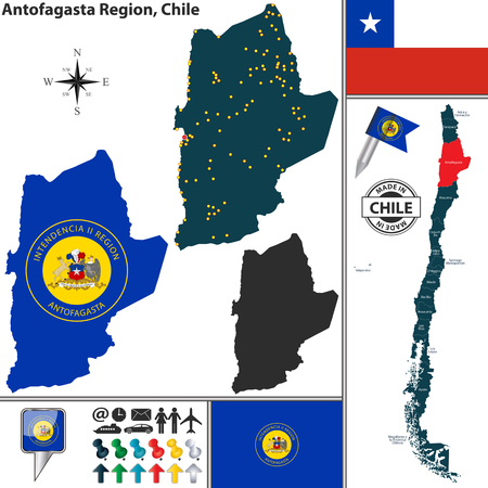 chilean: Vector map of Antofagasta region and location on Chilean map