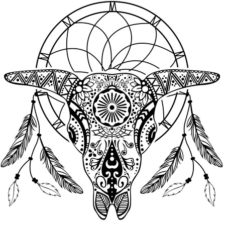 mesoamerican: Vector of bull scull with dream catcher in tribal tattoo style