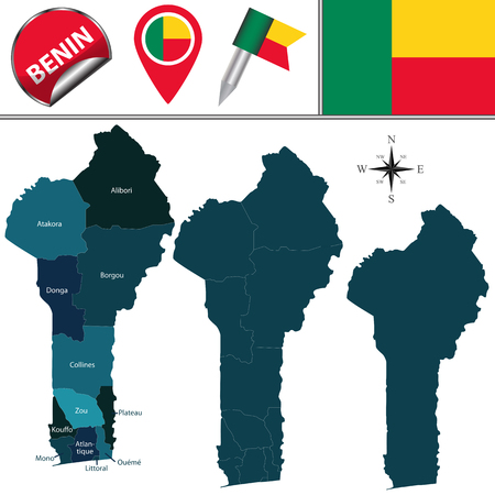 map of Benin with named departments and travel icons Illustration
