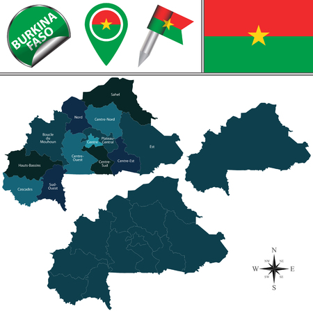 est: Vector map of Burkina Faso with named regions and travel icons Illustration