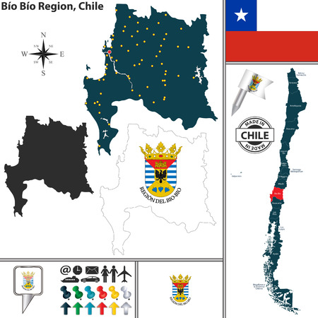map of Bio Bio region and location on Chilean map Vector Illustration