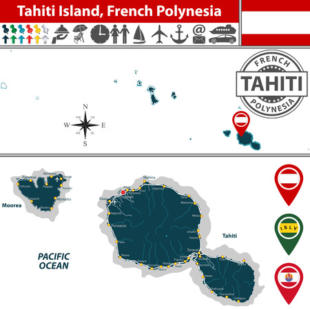 Vector of Tahiti island in archipelago Society Islands, French Polynesia. Map contains roads and travel icons