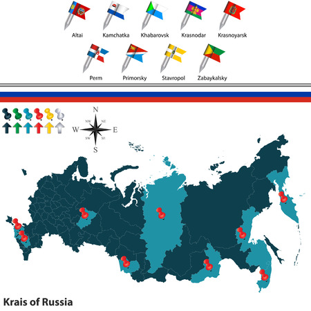 Vector Of Krais Of Russia With Russian Map And Flags Royalty Free