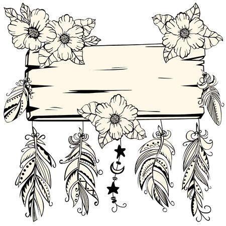 vintage border: Vector of hand drawn wooden sign with feathers and flowers in boho style