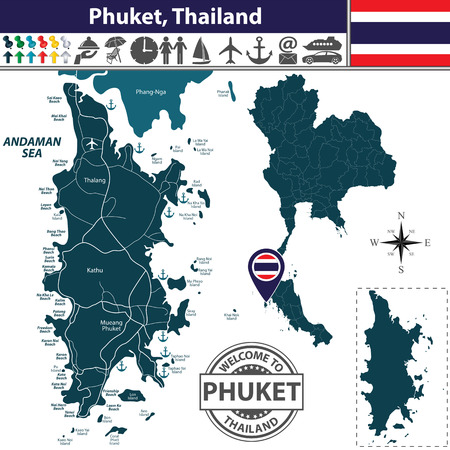 Vector of Phuket Province, Thailand. Map contains Phang-Nga island, roads and beaches icons