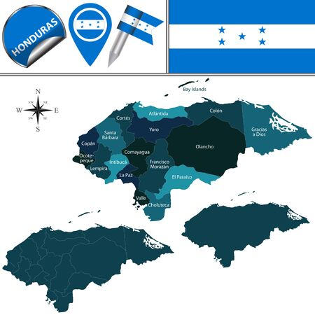 Vector map of Honduras with named departments and travel icons Illustration