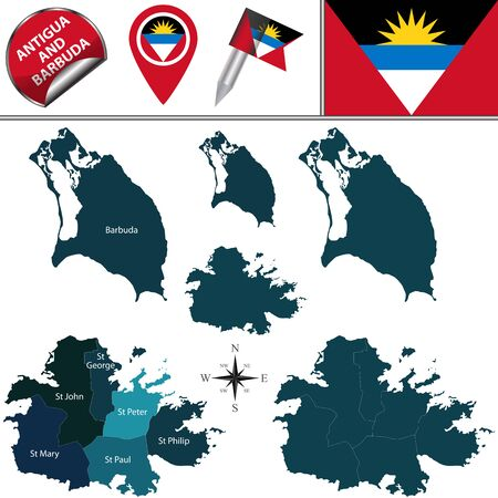 dependencies: Vector map of Antigua and Barbuda with named regions and travel icons Illustration