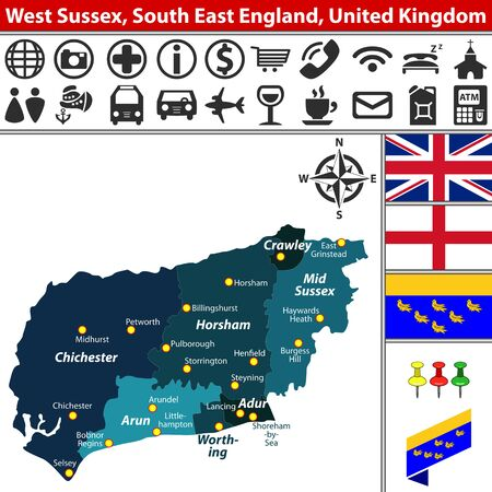 south west england: Vector map of West Sussex, South East England, United Kingdom with regions and flags Illustration