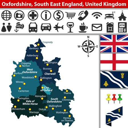 oxford: Vector map of Oxfordshire, South East England, United Kingdom with regions and flags