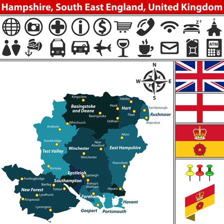 Vector map of Hampshire, South East England, United Kingdom with regions and flags
