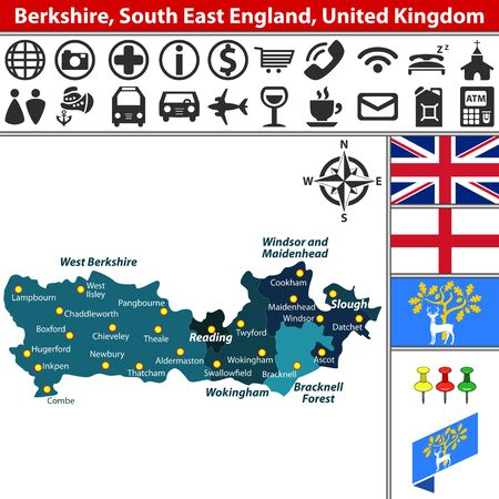 windsor: Vector map of Berkshire, South East England, United Kingdom with regions and flags Illustration