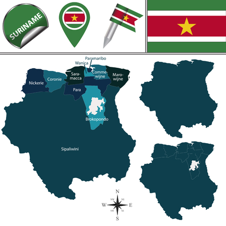 para: map of Suriname with named districts and travel icons