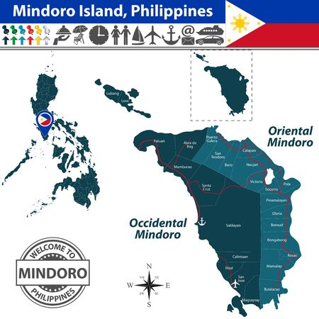 Mindoro island, Philippines. Map contains provinces Oriental Mindoro and Occidental Mindoro with roads and travel icons 일러스트