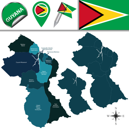 georgetown: map of Guyana with named regions and travel icons