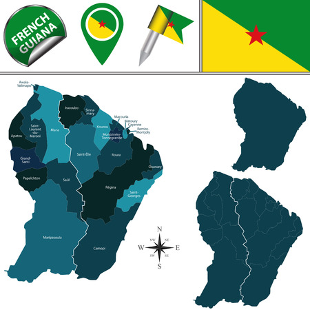 cayenne: map of French Guiana with named communes and travel icons