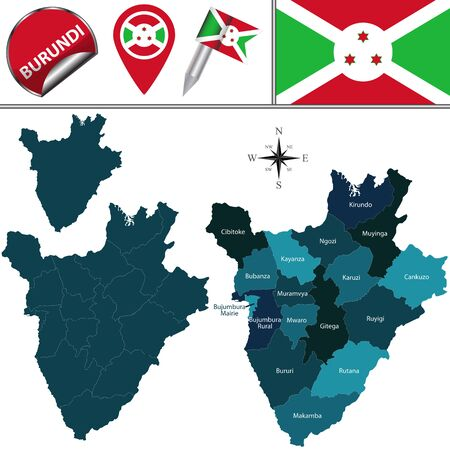 Vector map of Burundi with named provinces and travel icons Illustration