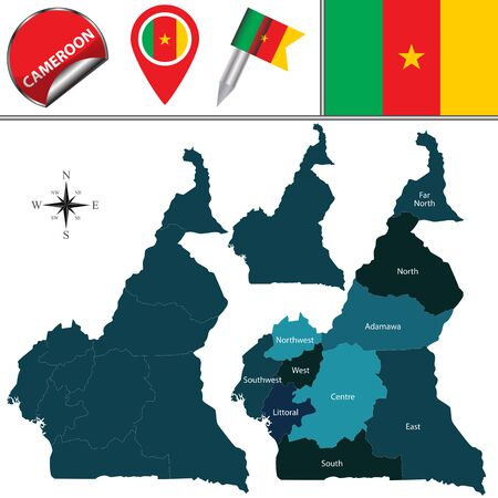 Vector map of Cameroon with named regions and travel icons