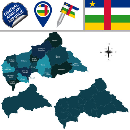 Vector map of Central African Republic with named prefectures and travel icons