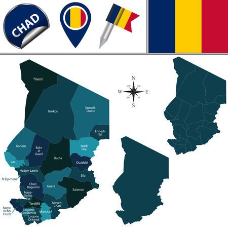 chadian: Vector map of Chad with named regions and travel icons Illustration