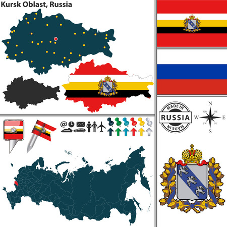 oblast: Vector map of Kursk Oblast with coat of arms and location on Russian map Illustration
