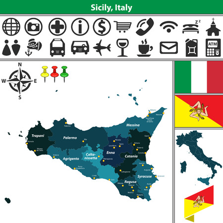 region sicilian: Vector map of region Sicily with regions and location on Italy map