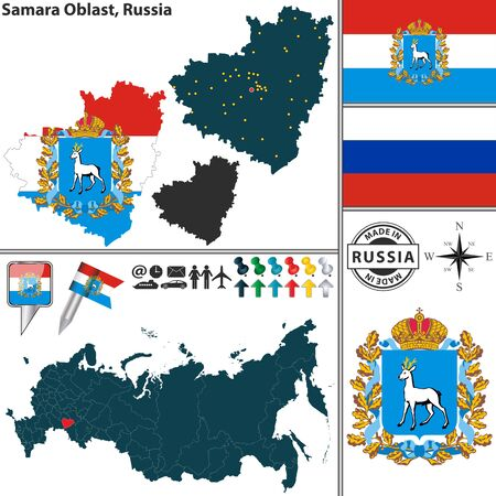 Vector map of Samara Oblast with coat of arms and location on Russian map