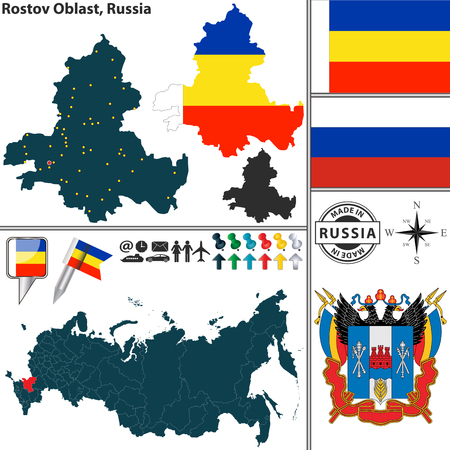 oblast: Vector map of Rostov Oblast with coat of arms and location on Russian map