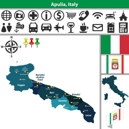 Vector map of Apulia with regions and location on Italy map