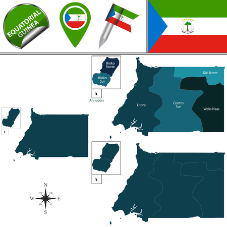 Vector map of Equatorial Guinea with named provinces and travel icons