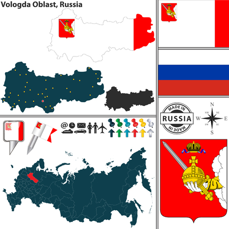 official: Vector map of Vologda Oblast with coat of arms and location on Russian map Illustration