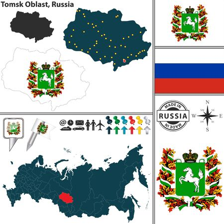 oblast: Vector map of Tomsk Oblast with coat of arms and location on Russian map