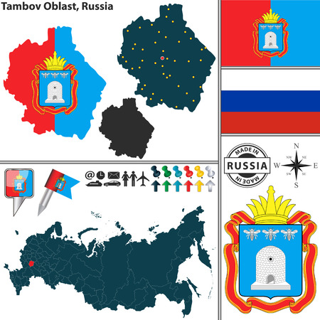 oblast: Vector map of Tambov Oblast with coat of arms and location on Russian map