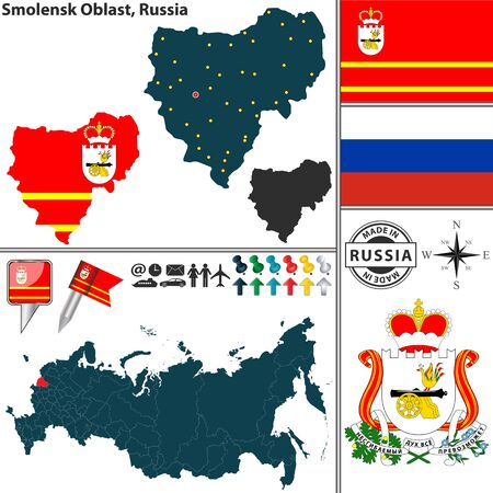 oblast: Vector map of Smolensk Oblast with coat of arms and location on Russian map