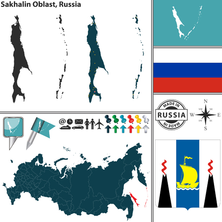 sakhalin: Vector map of Sakhalin Oblast with coat of arms and location on Russian map Illustration