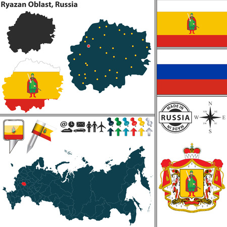 oblast: Vector map of Ryazan Oblast with coat of arms and location on Russian map Illustration
