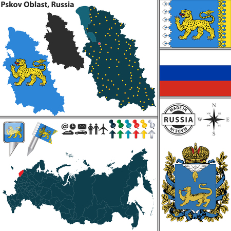 Vector Map Of Omsk Oblast With Coat Of Arms And Location On Russian