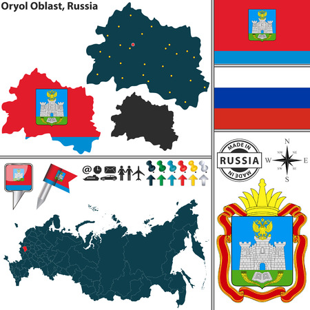 oblast: Vector map of Oryol Oblast with coat of arms and location on Russian map