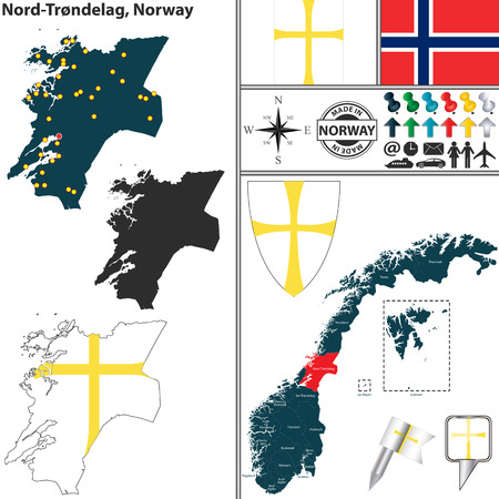 norway flag: Vector map of county Nord Trondelag with coat of arms and location on Norwegian map Illustration