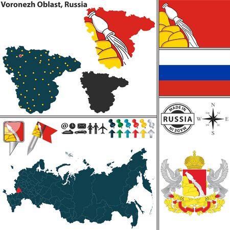 oblast: Vector map of Voronezh Oblast with coat of arms and location on Russian map