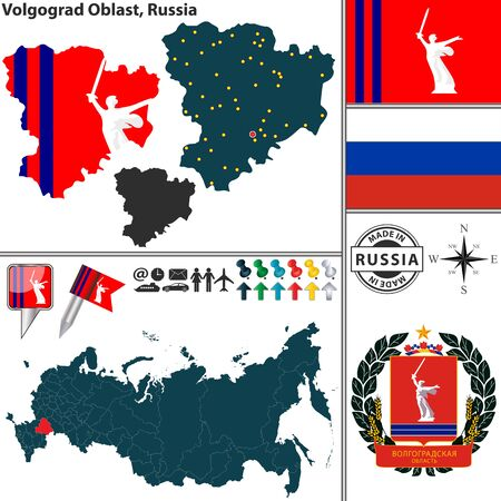 oblast: Vector map of Volgograd Oblast with coat of arms and location on Russian map