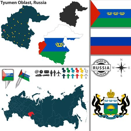 oblast: Vector map of Tyumen Oblast with coat of arms and location on Russian map